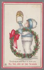 Old Postcard M.E. Price Artist Signed All The Joy of the Season Boy With Wreath
