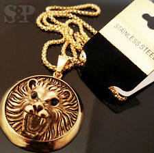 "New Gold Tone Stainless Steel Lion Head Pendant & 24"" Round Box Chain Necklace"