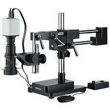 Industrial Inspection Zoom Monocular Microscope with Double Arm Stand and 1080p
