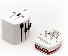 Universal World Wide Multi AC Mains Travel Plug Charger Adapter with 2 USB Ports