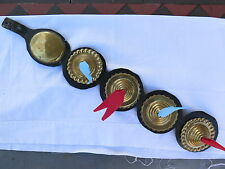 HORSE BRASS BRASSES on ORIGINAL LEATHER STRAP c1920s with RECENT RIBBONS