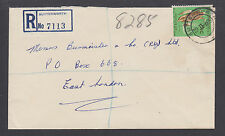 South Africa Sc 261, 7½c Corn on Registered cover BUTTERWORTH to EAST LONDON