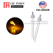 100pcs 2mm Diffused White Color Yellow Light Flat Top LED Emitting Diodes USA