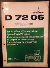 Deutz Schlepper D7206 Ersatzteilkatalog
