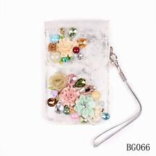 new crystal pu leather pearl flower charm cell phone bag for women accessories