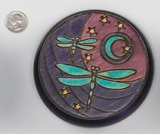 Dragonfly Moon Handmade Wooden Round Box Linden Wood Keepsake Polish Art