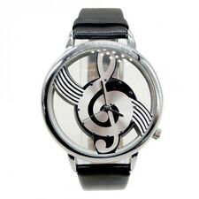 Faux Leather Black Strap Ladies Men's Music Treble Clef Watch Gold Plated Case