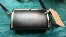 Black 70s Box Bag lined in faux honey moleskin Black Gold Perpex Sides RETRO BAG