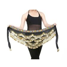 Belly Dance Hip Skirt Scarf Wrap Gem Waist Belt With Three Layers Golden Coins