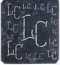 Große Monogramm Schablone LC Jugendstil Weißblech 16,5 x 18 cm Weissstickerei