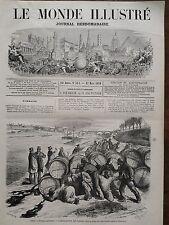 LE MONDE ILLUSTRE 1870 N 674  LES TONNEAUX DE VINS FALSIFIES JETES DANS LA SEINE