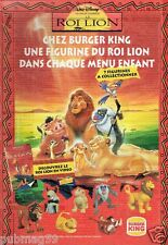 Publicité advertising 1995 Disney Le Roi Lion chez Burger King