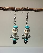 (Choose 1) Howlite Skull Head Silver Earrings W/Turquoise Or Black Onyx USA