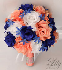17 Piece Package Silk Flower Wedding Bridal Bouquet CORAL DARK BLUE NAVY ROYAL