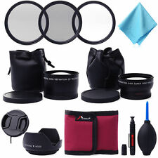 58mm Wide Angle Lens + Telephoto + Filter Kit for Canon Rebel T5i T4i T3i LF420