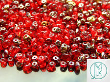 20g Czech SuperDuo Twin Beads Rubby Red Mix