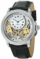 STUHRLING 368B GEMIN AUTOMATIC DUAL OPEN HEART WHEEL TOURBILLION STYLE MEN WATCH