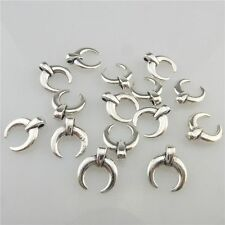 19445 80pcs Vintage Silver Alloy Mini 11mm Crescent Moon Pendant Spacer Beads