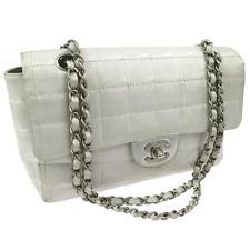 Auth CHANEL Travel Line Chain Shoulder Bag Metallic Silver Jacquard Nylon V08344