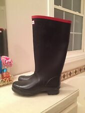 nwd Hunter Argyll BLACK Rainboots Womens 10 42 Rubber Wellies Rain Boots