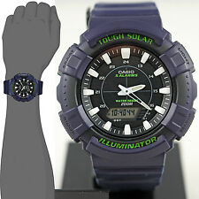 Casio ADS800WH-2A Mens Blue 200M Tough Solar Watch Sports 5 ALARMS Chronograph