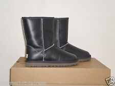 UGG Australia Women's CLASSIC Short LEATHER Boot 8US PEACOAT Navy Blue NWOB