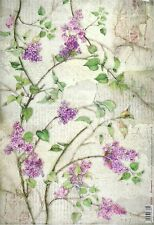 Rice Paper for Decoupage Decopatch Scrapbook Craft Sheet Vintage Lilac Flower