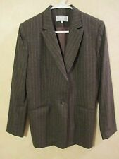 EUC SAX FIFTH AVENUE Folio Collection 10 75% Wool Brown Lined Suit Blazer Jacket