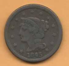 1845 Large Cent Very Fine Condition (Ct/bx)