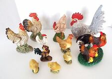 11 PC LOT VINTAGE CHICKEN ROOSTER FIGURINES FEATHER PORCELAIN LEFTON FARM CHIC