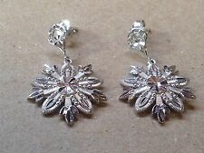 14K WHITE GOLD SNOWFLAKE DANGLE EARRINGS 2.9 GRAMS NICE!
