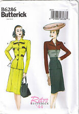 Vintage 40s Retro Suit Jacket Skirt Color Block WW2 Sewing Pattern 8 10 12 14 16