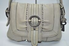 Fossil Fifty Four Light Gray Genuine Leather Studded Buckle Flap Small Satchel
