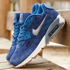 Women's Nike Air Max 90 Premium Suede Navy Blue Silver UK Size 4.5 818598-400