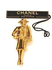 """CHANEL Gabrielle """"Coco"""" Chanel 2.5"""" Gold Tone Figurine Pin"""