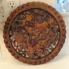 Antique Chinese Carved Camphor Wood Foo Dog Round Plaque