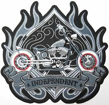 INDEPENDENT Chopper Rider Lone Wolf Biker Big XL Embroidered  Back Patch 8.9""
