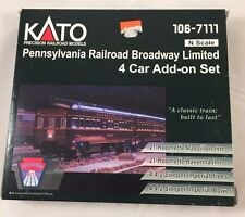 KATO N SCALE 106-7111 PENNSYLVANIA BROADWAY LIMITED ADD ON 4 CAR SET