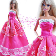 ON Sale New Pink Barbie EVENING SPLENDOR Dress Gown white Lace for Barbie Doll