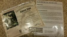 ICONS Jurassic Park World VELOCIRAPTOR EGG Raptor Prop Replica PLAQUE & COA ONLY