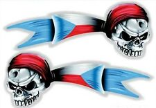Auto Motorcycle Czech Skull Pirate with Flag Decal Sticker (Set of 2)