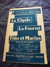 Partition La cigale La fourmi Titin et Marius de Jean Gay Polkas
