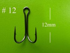 50x DFS size 12 DOUBLE Fishing hooks, black nickel, chemical sharp, tackle
