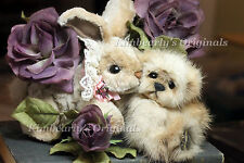 KIMBEARLYS ORIGINALS MINK TEDDY BEAR RABBIT BUNNY LTD. EDITION SIGNED ACEO