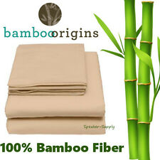 100% Bamboo Rayon Fiber 4 Piece Full Sheet Set Beige Soft Bedding Best GHB-101