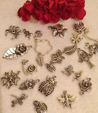15 FLOWER INSECTS charms vintage silver nature great mix rose snail butterfly UK
