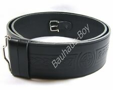 "KILT BELT BLACK LEATHER CELTIC KNOT EMBOSSED SIZE 32"" - 36"" by Glenesk FOR KILTS"
