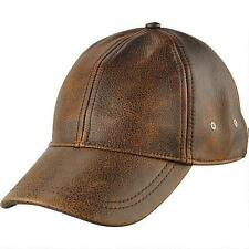 Wilsons Leather Mens Distressed Leather Baseball Cap Cognac