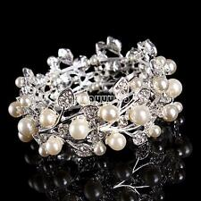 ABS Plastic Pearl Crystal Bangle Stretch Leaf Wristband Bracelet Bridal Jewelry