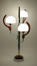 GREAT Vtg RETRO 1960s/70s DANISH Mcm SPACE Age CHROME w/Teak ATOMIC Table LAMP !